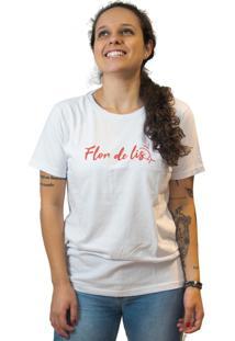 Camiseta Feminina Edu Ribeiro Lettering Flor De Lis - Branca E Vermelha Multicolorido