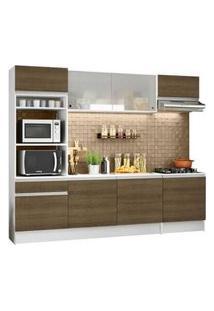 Cozinha Completa Madesa Topazio Com Armário, Balcão E Tampo Branco/Rustic