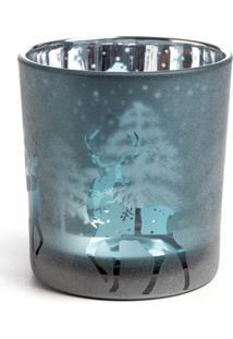 Castiçal Em Vidro Decoração Natal 8Cm Azul