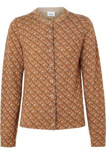 Burberry Cardigan Com Estampa Monogramada - Marrom