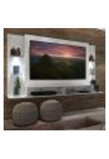 """Painel Tv 60"""" Com 2 Leds E Prateleiras De Vidro Vegas Multimóveis Branco"""
