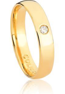 Aliança De Ouro 18K Anatômica Abaulada Com Diamantes-Alianças Exclusivas Coliseu(4,00Mm)