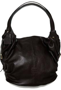 Bolsa Line Store Leather Malú Couro Marrom Escuro.