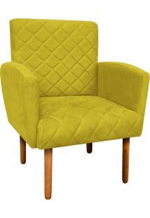 Poltrona Decorativa Veronês Para Sala E Recepção Suede Amarelo - D'Rossi