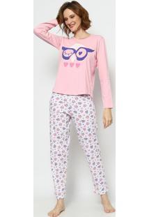 Pijama Coruja- Rosa Claro & Branco- Zulaizulai