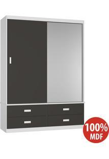 Guarda Roupa 2 Portas De Correr 100% Mdf 1399E1 Branco/Café - Foscarini