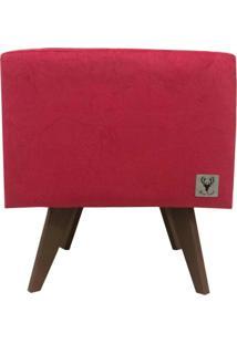 Puff Pã© Palito Quadrado Alce Couch Suede Amassado Vermelho 40Cm - Vermelho - Dafiti