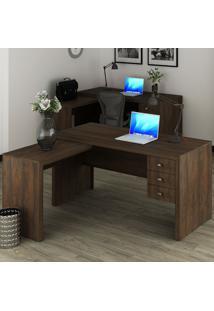 Mesa Para Escritório 3 Gavetas Rústico Me4106 - Tecno Mobili