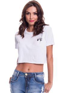 Camiseta Cropped Jazz Brasil Basica Branca