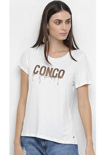Blusa Mob Congo Glitter Feminina - Feminino-Branco