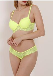 Conjunto De Lingerie Neon Feminino Amarelo