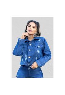 Jaqueta Jeans Prime Fec Fashion Desfiada Azul Escuro