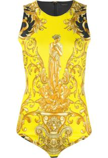 Versace Body Com Estampa Barroca - Amarelo