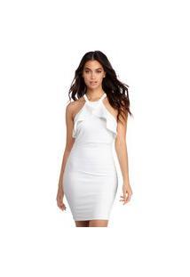Vestido Racy Modas Tubinho Com Babado E Alcinha Branco