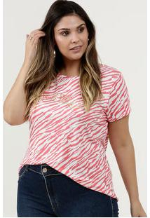 Blusa Feminina Estampa Animal Print Plus Size Manga Curta