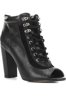Ankle Boot Couro Shoestock Hiking Salto Alto Feminina - Feminino-Preto