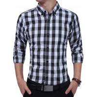 844af0ef4 Camisa Masculina Casual Xadrez Manga Longa - Preto