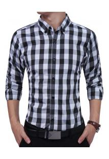 Camisa Masculina Casual Xadrez Manga Longa - Preto