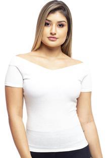 Blusa Com Bojo Ombro A Ombro Com Manga Branco - Branco - Feminino - Dafiti
