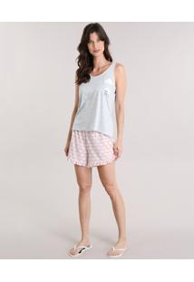 Pijama Ovelha Com Estampa De Nuvens Cinza Mescla Claro