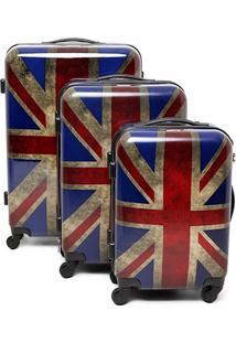 Kit Mala De Viagem Swiss Move Reino Unido 3 Peças - Masculino