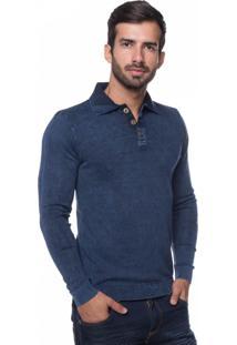 Camisa Polo Basic Le Tisserand Azul Stoned