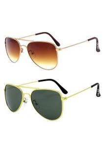Kit De 2 Óculos De Sol Clássicos Otto Em Metal Monel® Aviador Rosê / Dourado