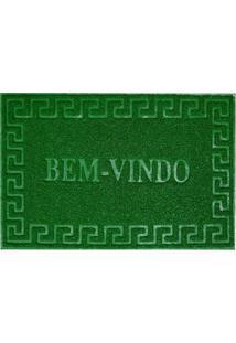 """Capacho De Porta """"Bem-Vindo""""- Verde- 90X60Cm- Niniazitex"""