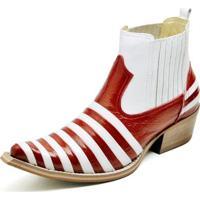 c464e7374 Bota Country Bico Fino Top Franca Shoes Verniz Masculino -  Masculino-Vermelho+Branco