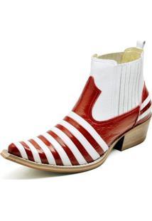 Bota Country Bico Fino Top Franca Shoes Verniz Masculino - Masculino-Vermelho+Branco