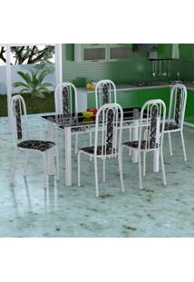 Conjunto De Mesa Com 6 Cadeiras Granada Branco E Preto Floral Vd