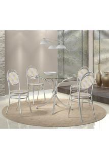 Mesa 375 Vidro Incolor Cromada Com 4 Cadeiras 190 Retrô Metalizado Carraro