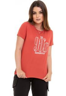 T-Shirts Maranne Manga Curta Estampa 90S Terra