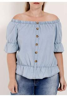 Blusa Ciganinha Manga Curta Plus Size Feminina Azul