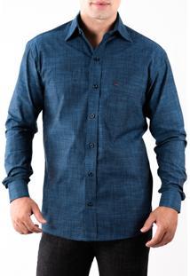 Camisa Pazan Slim Fit Premium One Manga Longa Azul