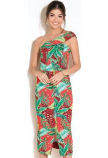 Vestido Com Decote Assimétrico E Fenda Tropical
