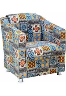 Poltrona Decorativa Tilla Suede Azulejo - Nay Estofados