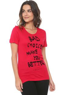 Camiseta Colcci Bad Choices Rosa