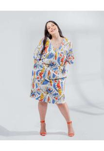 Vestido Almaria Plus Size Miss Taylor Midi Estampa