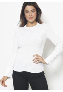 Blusa Canelada Em Tricot - Branca- Ponto Aguiarponto Aguiar