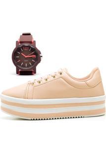 Tênis Ousy Shoes Flatform Mais Relógio Rosa