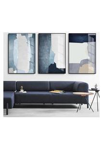 Quadro 75X150Cm Abstrato Hundura Moldura Flutuante Filete Preta Decorativo