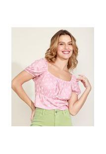 Blusa Feminina Cropped Canelada Estampada Floral Manga Bufante Decote Reto Rosa