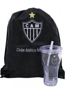 Kit Copo Com Canudo 550Ml+Mochila Tipo Saco Atlético Mineiro - Unissex