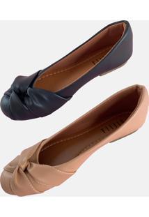 Sapatilha Kit 2 Pares 1 Preta E 1 Bege Stella Shoes