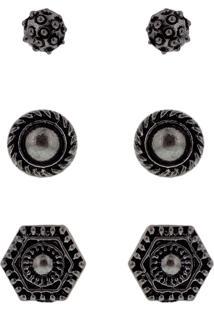 Kit Brinco Parfois Textura 3Pçs Prata
