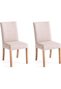 Conjunto Com 2 Cadeiras De Jantar Laisa Mescla E Castanho