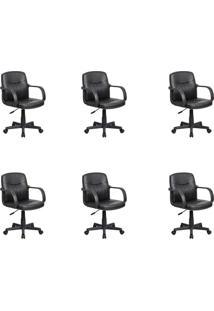 Conjunto Com 6 Cadeiras De Escritório Secretária Clean Preto