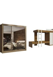 Kit Madesa Guarda-Roupa Infantil Texas 3 Portas De Correr De Espelho + Beliche Larissa Marrom