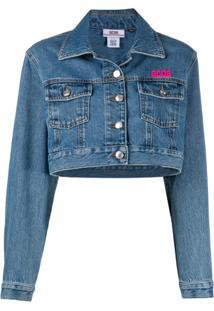Gcds Jaqueta Jeans Cropped Com Logo - Azul